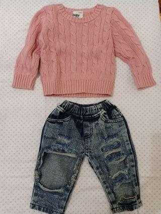 Set baby knit sweater+boyfriend jeans