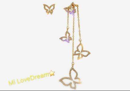 韓版蝴蝶🦋不對稱耳環✨
