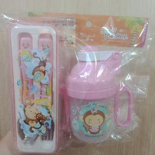 【全新】幼兒水壺、叉子湯匙組