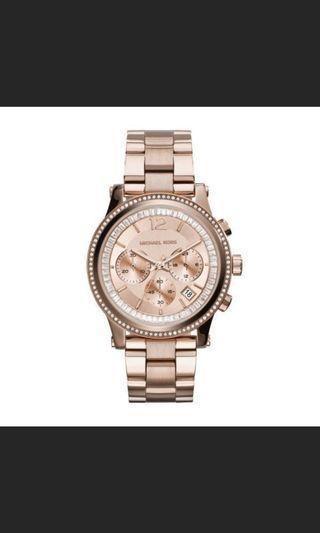 MK6064 限量版 奢華雙鑽錶圈手錶 日曆錶 三眼防水女錶 不鏽鋼錶帶腕錶