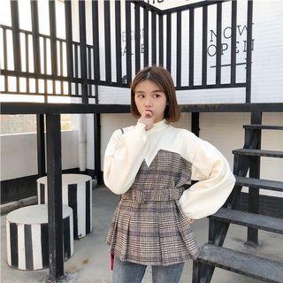 韓✨法式假兩件格子上衣 長袖上衣