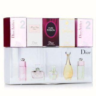 Dior/CD 迪奧 女仕香水五件套 Q版5*5ML禮盒 dior禮袋