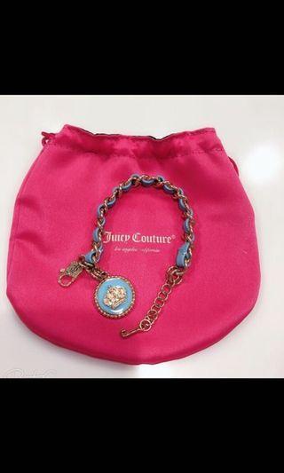 juicy couture  圓牌皇冠藍色皮革手鏈