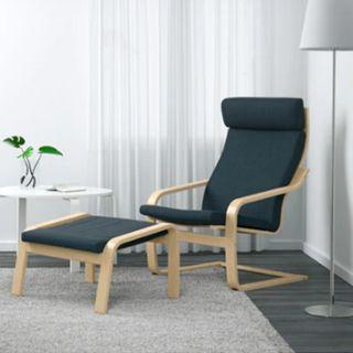 IKEA 深藍扶手椅 + 椅凳