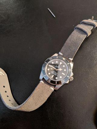 Grey Suede Genuine Leather Strap 20mm
