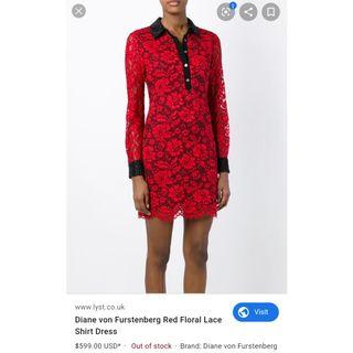 DVF Red Lace Dress