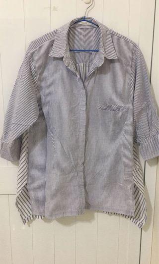 ✨ 藍白條紋長版襯衫 ✨