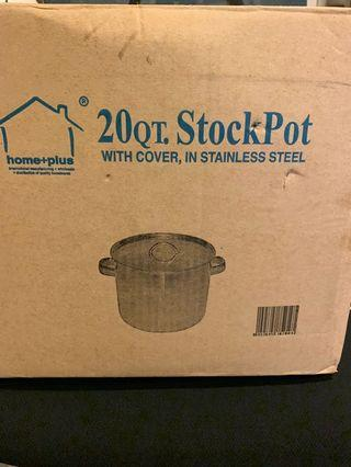 Large stainless steel stock pot