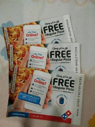 Domino Pizza - Free 1 Regular Pizza