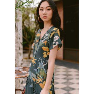 fashmob havana tropical printed jumpsuit in blue sage green