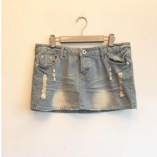 淺藍 #低腰 刷色牛仔短裙 #五折出清女裝