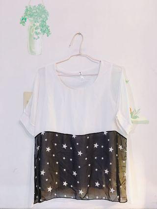 [正韓][可愛系]白紗星星拼接五分袖長版透膚飄逸感上衣