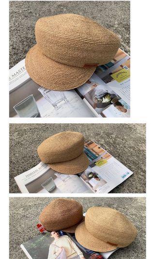 轉賣正韓ROCKSTEADY夏季限定小皮革標誌編織報童帽#五折出清女裝
