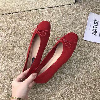 紅色蝴蝶結娃娃鞋