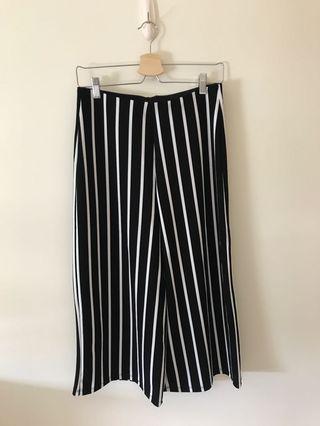 Zara黑白條紋鬆緊褲