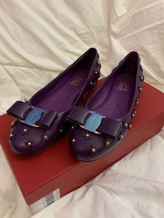 Salvatore Ferragamo Purple Studded Leather Varina Sky Bow Ballet Flats Size