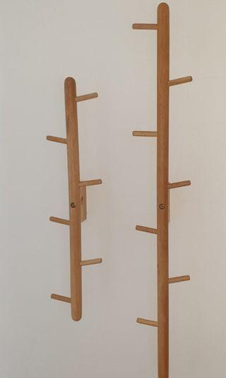 Scandinavian style wooden wall-mounted clothes tree