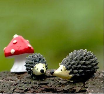 Plant Pot Landscape Miniature - Hedgehog+Mushroom