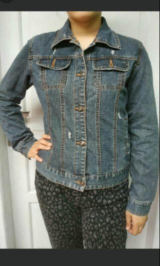 Jaket jeans ripped acid wash
