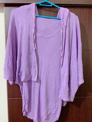 套裝紫背心+外套