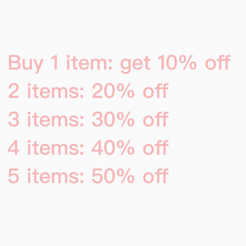 50% off your total order if you purchase 5 or more items ✨