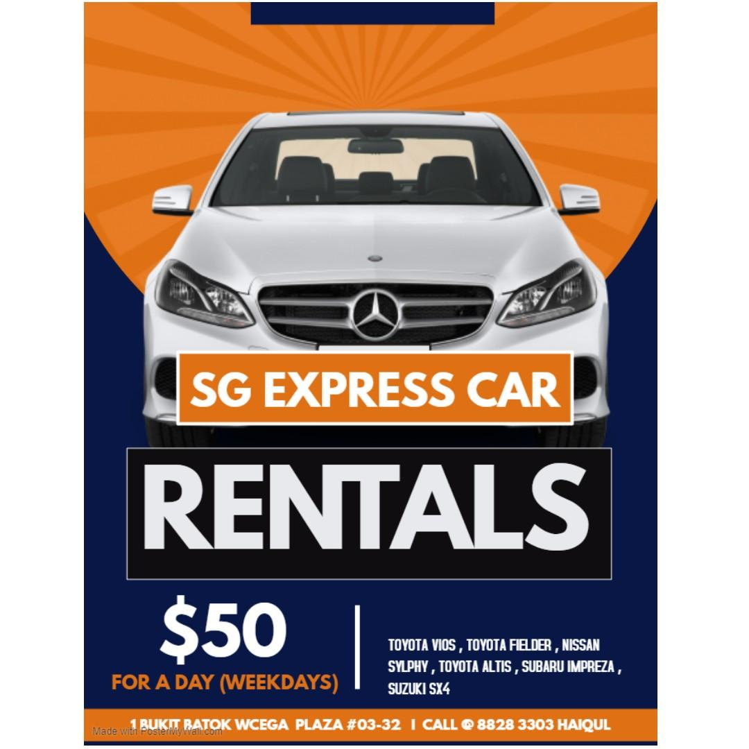 *EXTENDED* Weekday car rental $50/day! 14-25 OCT
