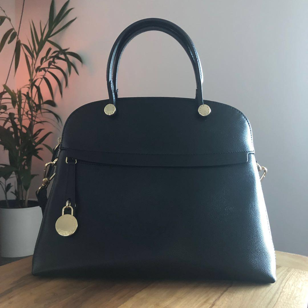 AUTHENTIC FURLA PIPER DOME BLACK LEATHER ONYX GOLD HARDWARE BAG PURSE TOTE