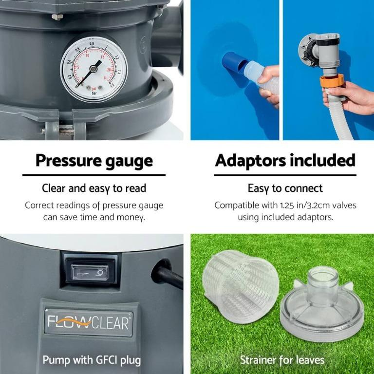 Bestway 530GPH Flowclear™ Sand Filter Swimming Above Ground Pool Cleaning Pump