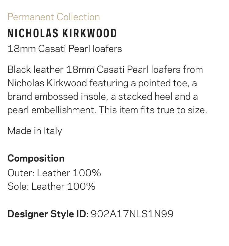 Black leather 18mm Casati Pearl loafers from Nicholas Kirkwood