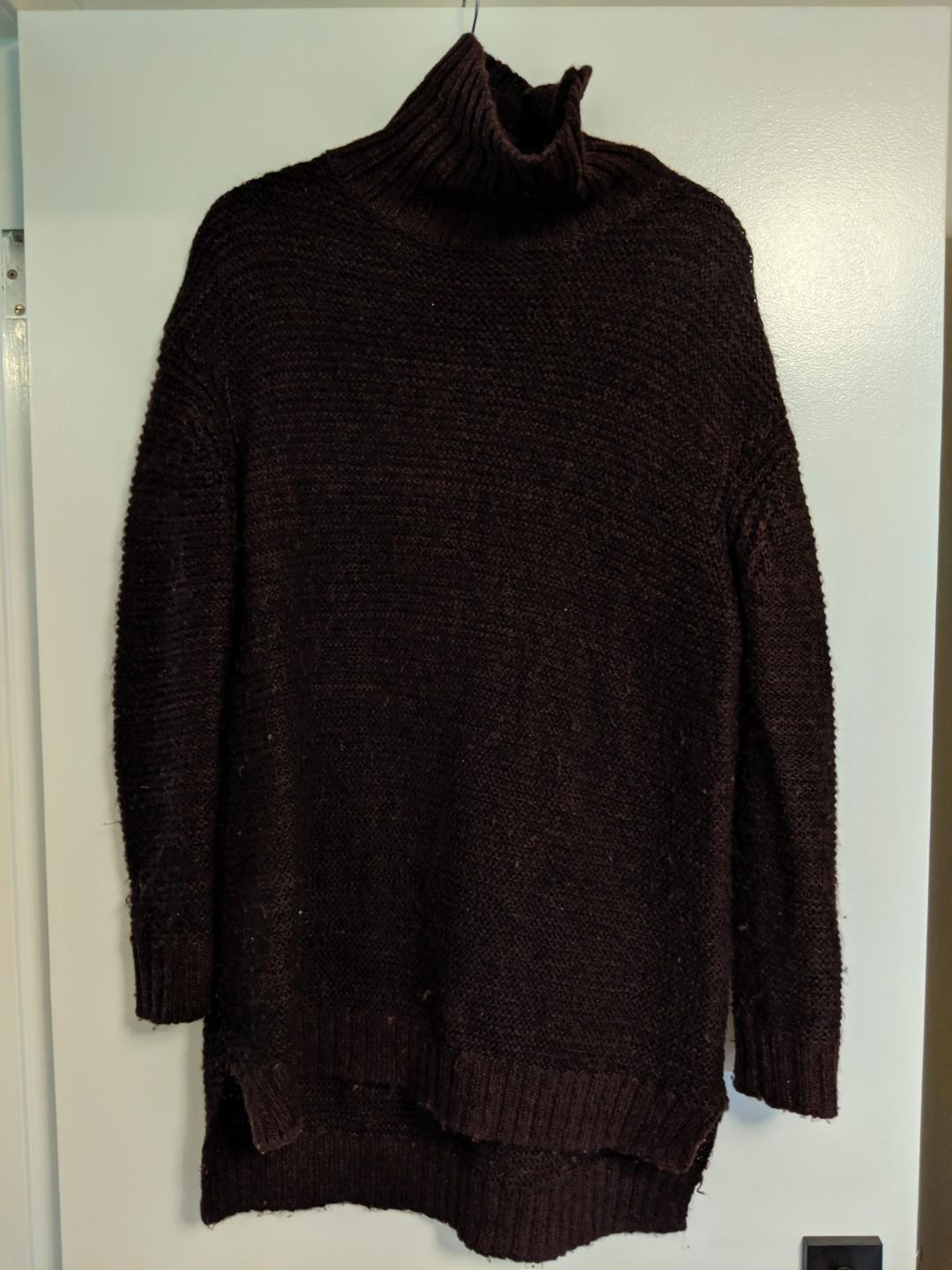Chunky Turtleneck Oversized Sweater - Deep Wine colour