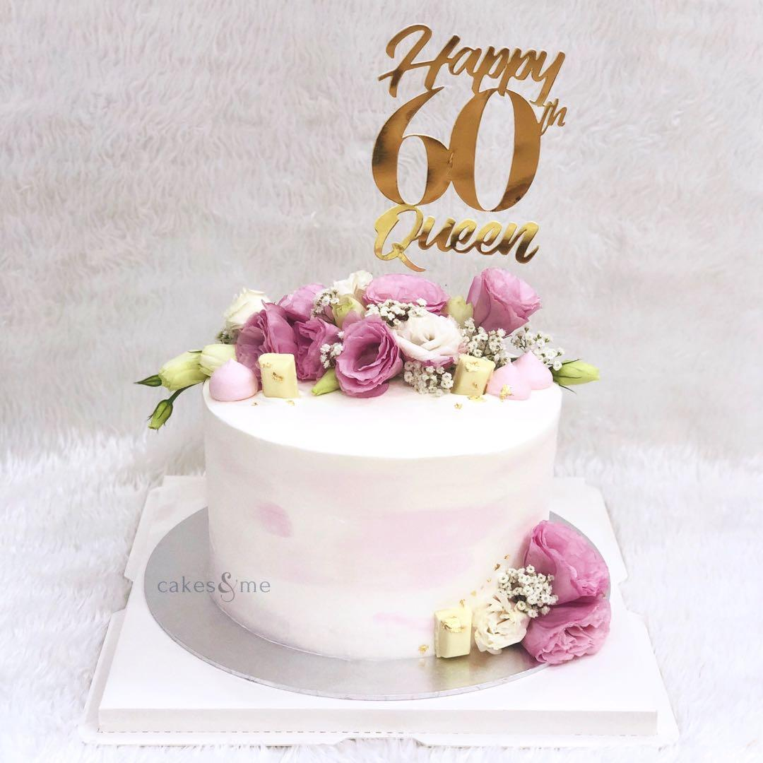 Terrific Customised Cake Cupcakes Watercolour Floral Cake 60Th Personalised Birthday Cards Paralily Jamesorg
