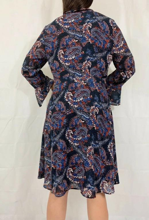DIANA FERRARI Blue Red White Paisley Print Pussybow Kaftan Dress Sz 14