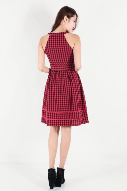 Dressabelle - Zip Front Gingham Red and Black Dress - Asian Size S