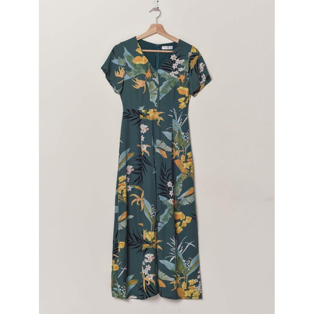 fashmob havana tropical printed jumpsuit in blue sage green
