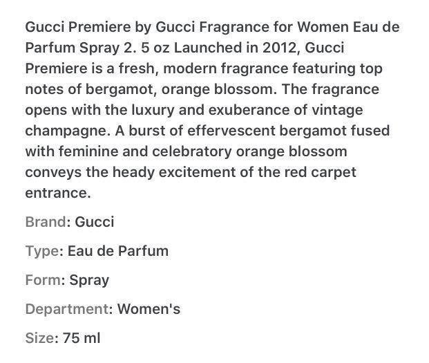 Gucci Premi'ere 75ml EDP Full Tester Bottle #swapsaus