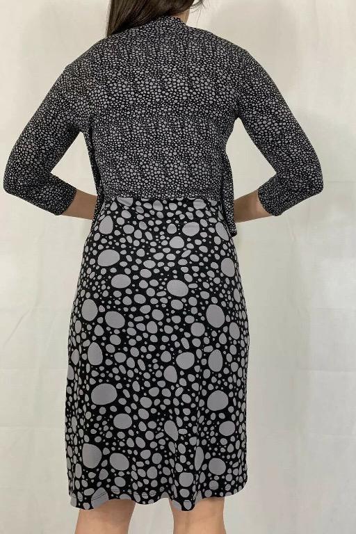 JANE LAMERTON Lavender Purple Black Spot Print Stretch Peplum Dress Sz AU 10