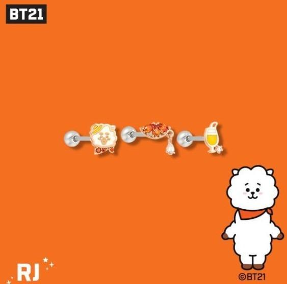 [KOREA PS/NO EMS] BT21 BTS OST - SILVER PIERCING SET (3PCS)