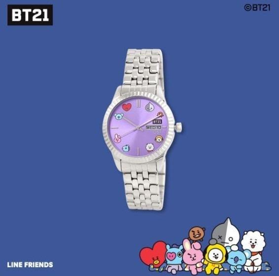 [KOREA PS/NO EMS] BT21 BTS OST - SILVER PURPLE METAL WATCH