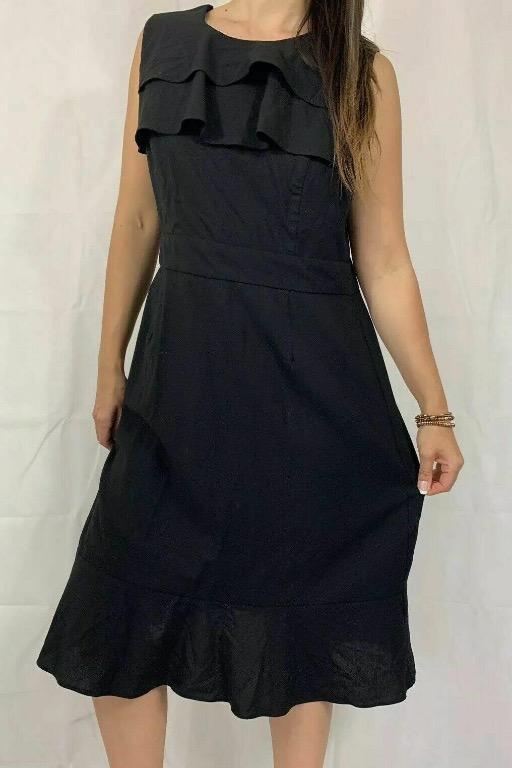 LAURA ASHLEY Black Ruffle Wool A-line Midi Dress Sz AU 14