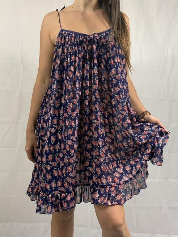 LEONA EDMISTON Blue Red Mexican Print Sheer Slip Dress Sz M AU 12-14