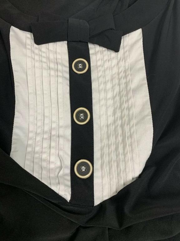 LEONA EDMISTON RUBY Black White Bow Detail Stretch Shift Dress Sz XXS AU 6