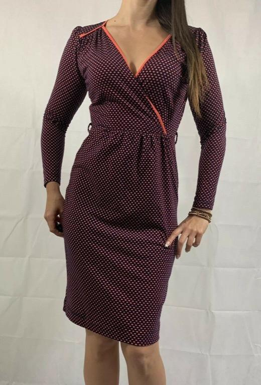 LEONA EDMISTON RUBY 'Cressida' Blue Pink Polka Dot Print Dress Sz XS AU 8