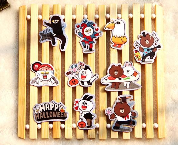[Limited Edition] Line Characters Halloween Scrapbook / Planner Stickers #471