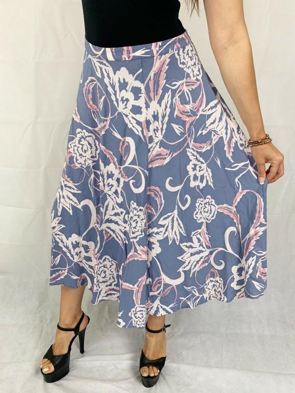 MISTER MR ZIMI 'ORCHID' Pink Blue Floral Print Maxi Skirt Sz AU 14