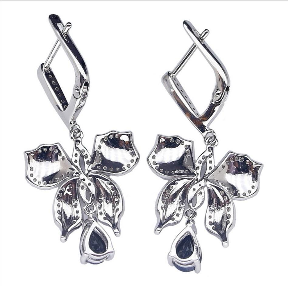 NATURAL EARRINGS ENAMEL BUTTERFLY BLUE SAPPHIRE PLATED WHITE GOLD 925 STERLING PERAK ASLI IMPORT PARTY CLIP ONS