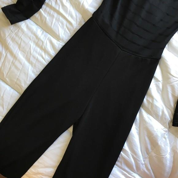 Pretty Little Thing Black Striped Sheer Top Bodycon Jumpsuit Playsuit Size 6 Excellent Condition