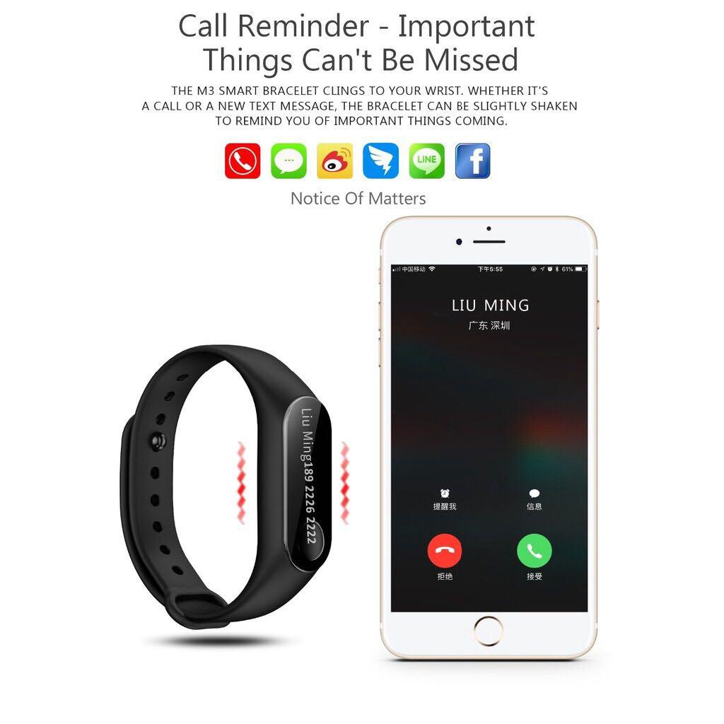 Ready Stock M3 Smartband Smartwatch Heart Rate Blood Pressure Mi Band 3 Killer Jam