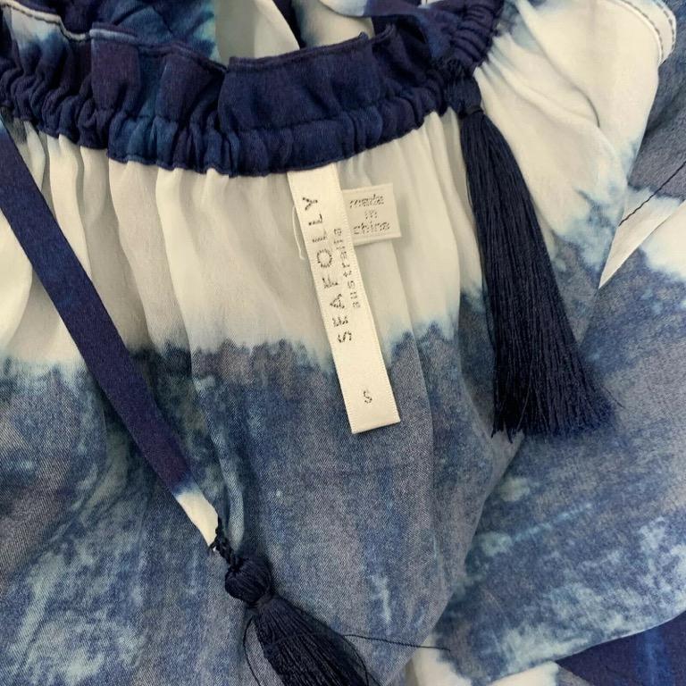 SEAFOLLY 'Bahama' Blue White Tye Dye Silk Blend Maxi Dress Sz S 10-12 RRP $380