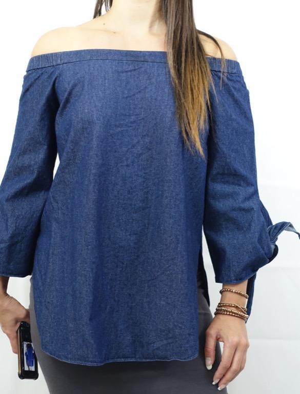 SEED HERITAGE Blue Denim Off Shoulder 100% Cotton Designer Top Size S AU 10