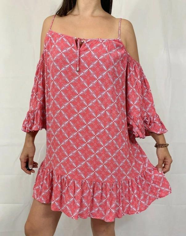 SEED HERITAGE Pink White Ikat Print Bell Sleeve Cold Shoulder Dress Sz 12